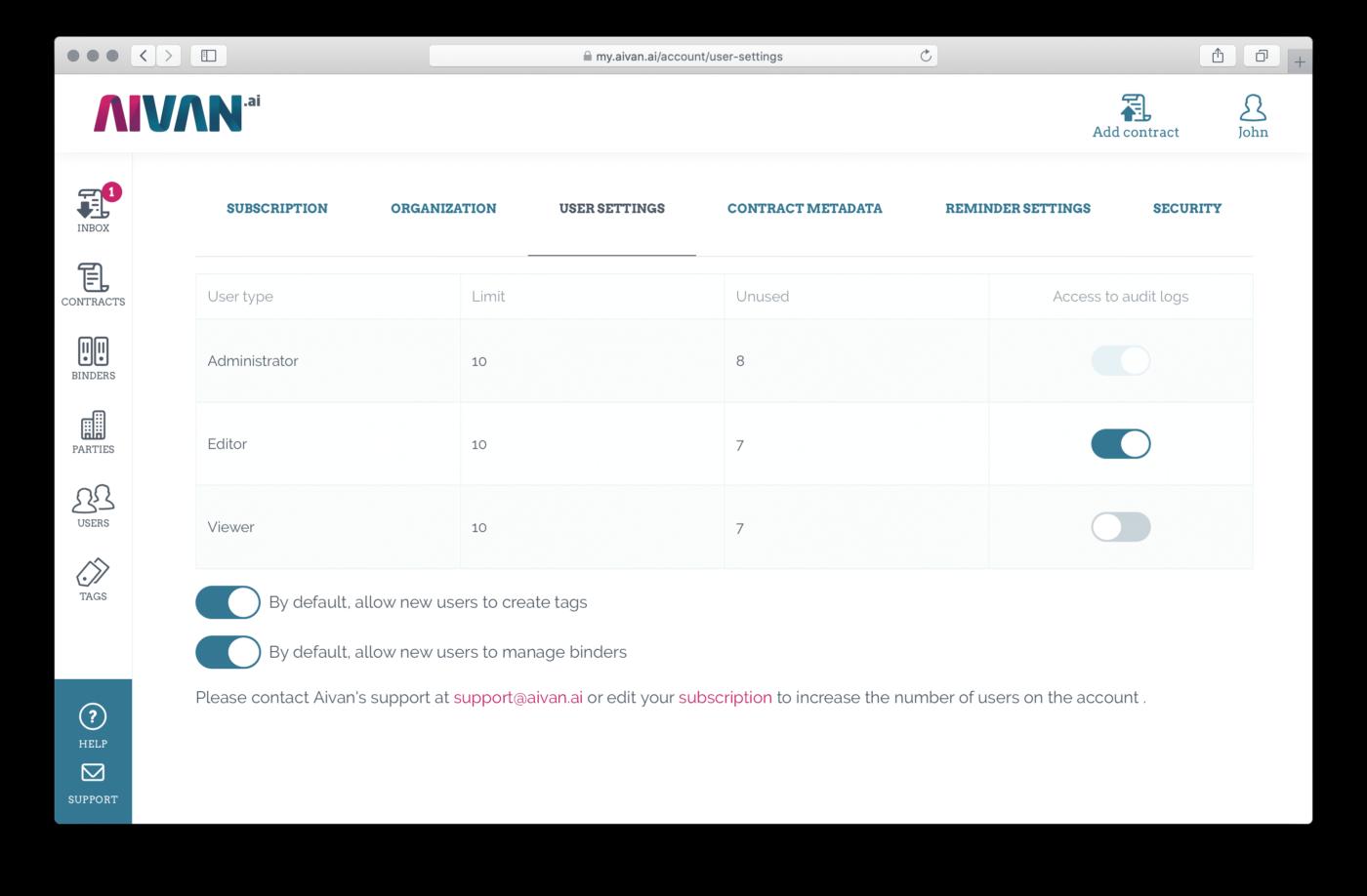 User settings -tab